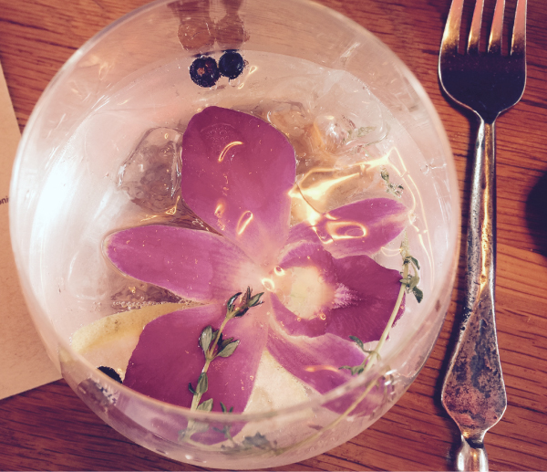 drink with flower floating